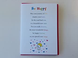 Be Happy - Cute Motivational and Encouragement Luxury Greetings Cards by Clarabelle Cards 5 x 7 inches