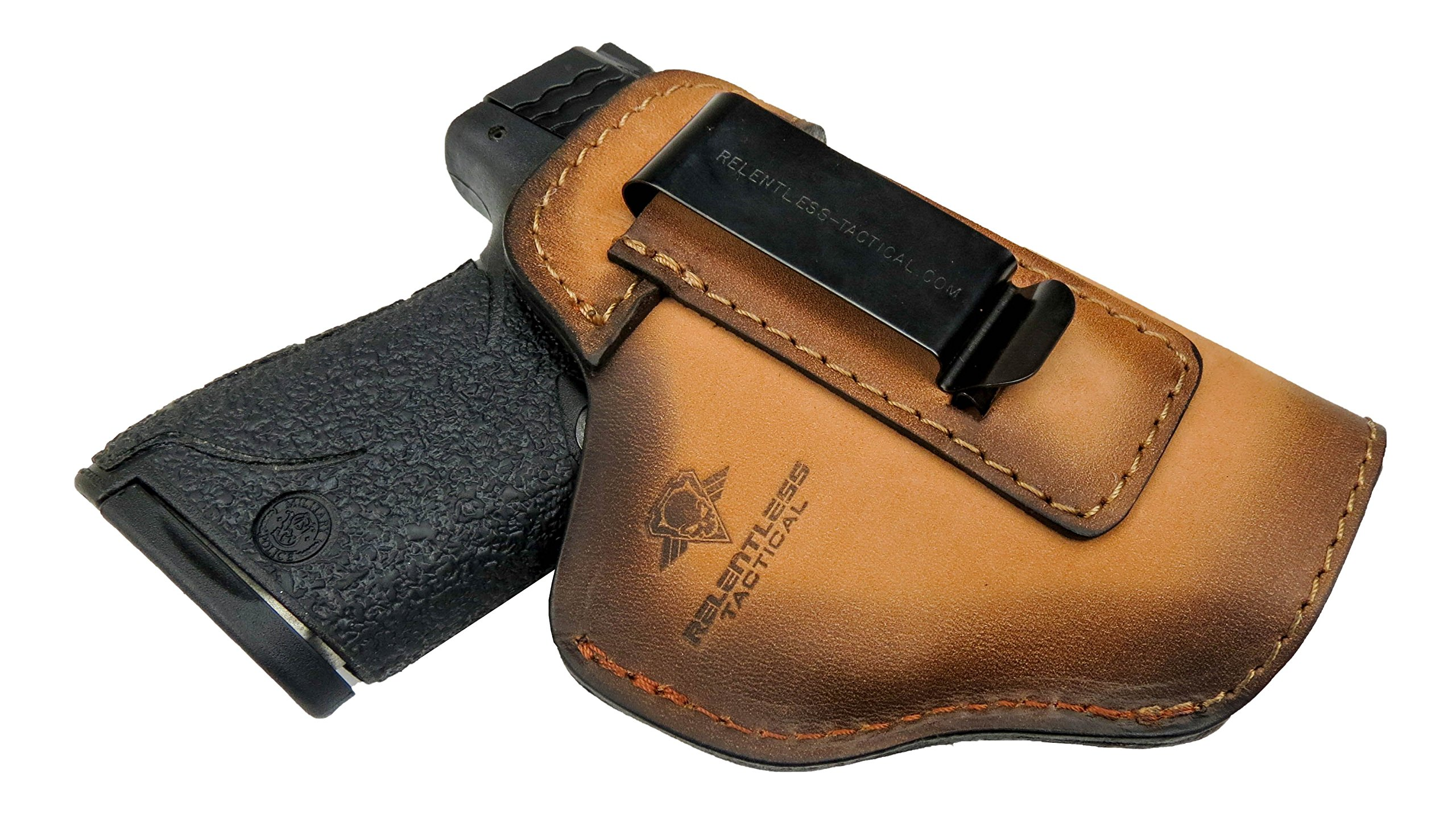 Relentless Tactical The Defender Leather IWB Holster - Made in USA - For S&W M&P Shield - GLOCK 17 19 22 23 32 33/Springfield XD & XDS/Plus All Similar Sized Handguns - Charred Oak - Right Handed by Relentless Tactical
