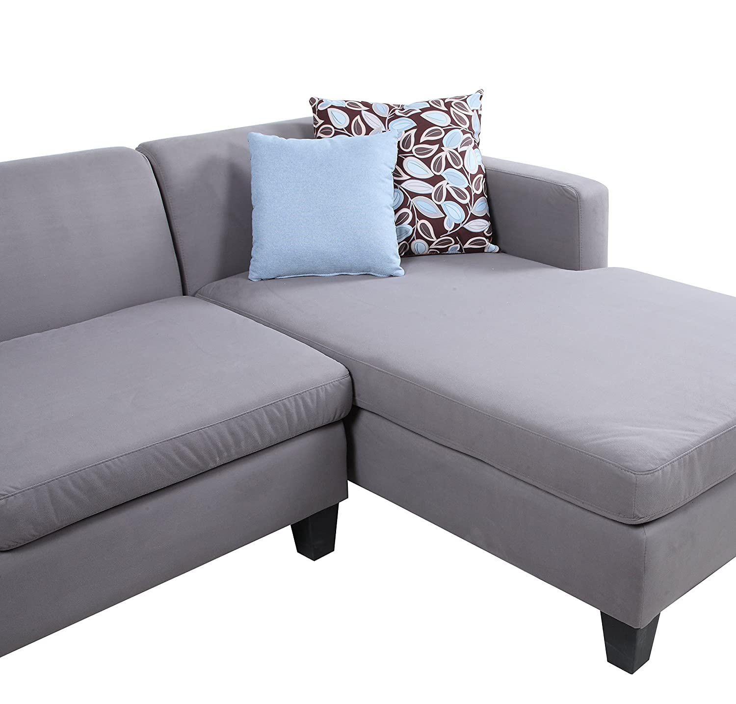 Amazon 3 Piece Modern Grey Sectional Sofa with Ottoman and