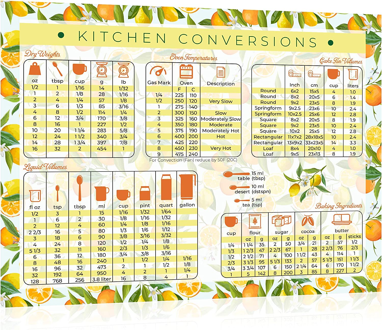 Kitchen Conversion Chart Magnet - Extra Large 11