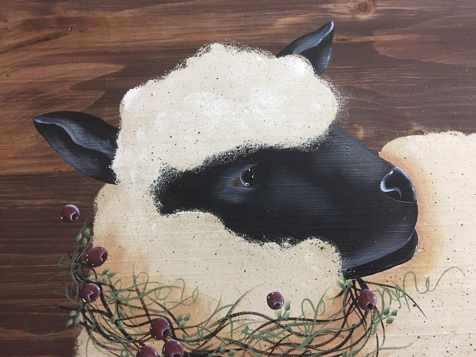 Primitive Painted Decor Suffolk Sheep Gooseberry Wreath Wood Stove Noodle Board 24X30 by Primitive Country Loft House (Image #2)