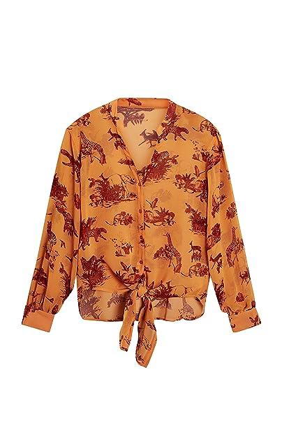 next Mujer Camisa Estampada Anudada En La Parte Delantera Naranja EU 34 (UK 6)