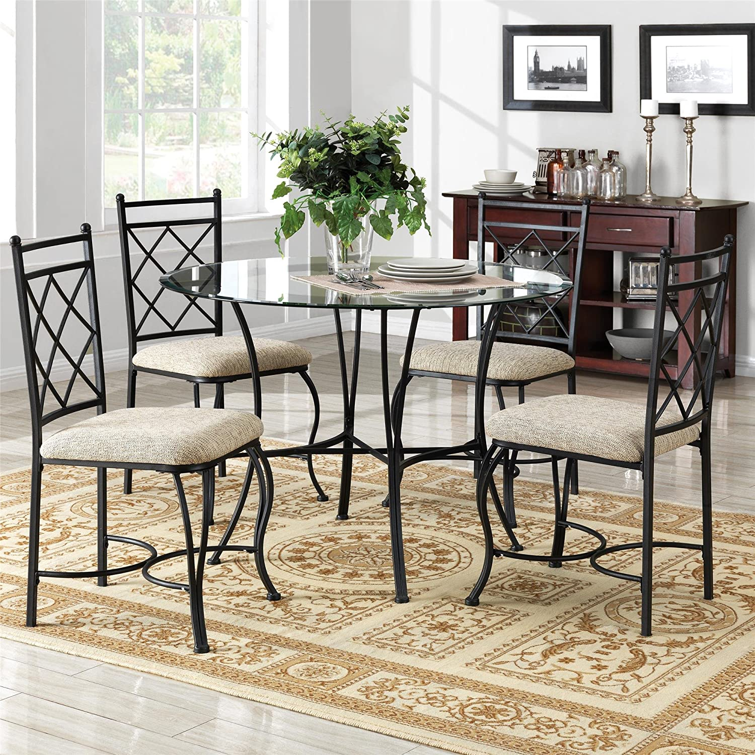 Amazoncom Mainstays 5 Piece Glass Top Metal Dining Set Home Kitchen