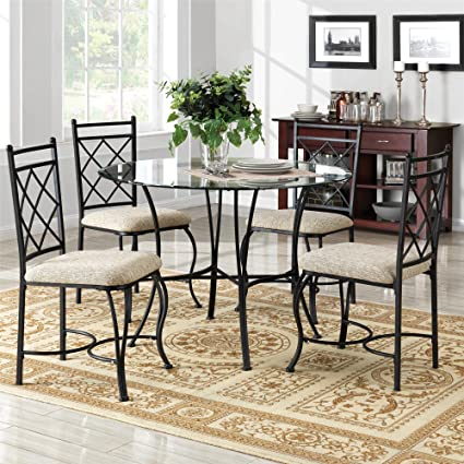 Superb Mainstays 5 Piece Glass Top Metal Dining Set