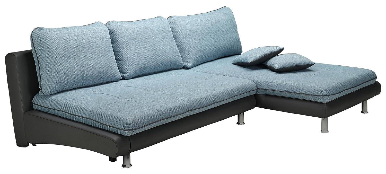 Polsterecke Loungines/2Bett-Longchair/278x79x177/Pepe blau/Bison fango