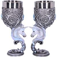 Nemesis Now Enchanted Twin Unicorn Heart Set of Two Goblets, Silver, 18.5cm