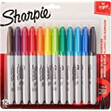 2 Packs of Sharpie Assorted Colored, Fine Point Permanent Markers, 12-Count, Total of 24 Markers