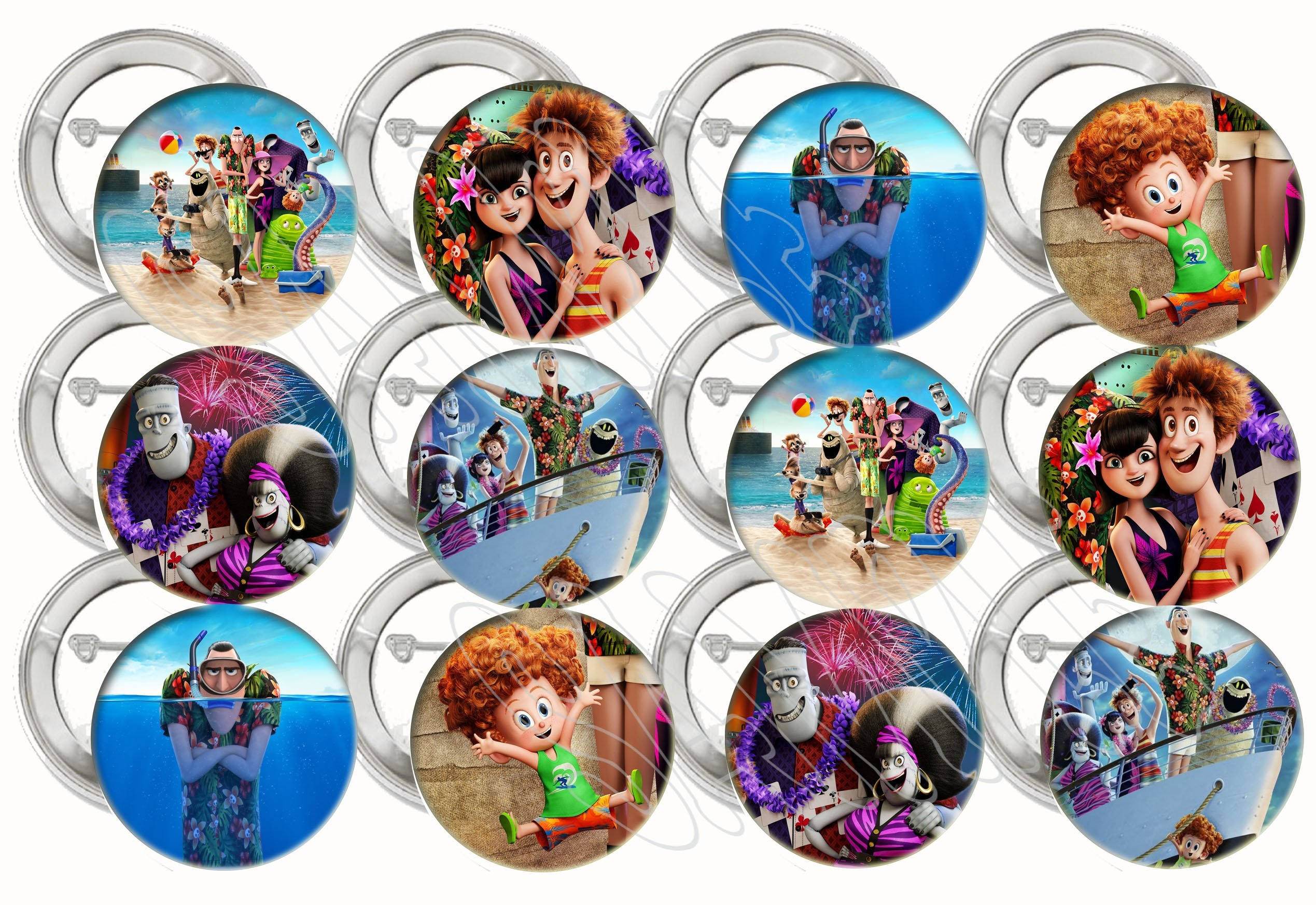 "Hotel Transylvania 3 Buttons Summer Vacation Party Favors Supplies Decorations Collectible Metal Pinback Buttons Pins, Large 2.25"" -12 pcs, Mavis, Johnny, Dracula Movie"