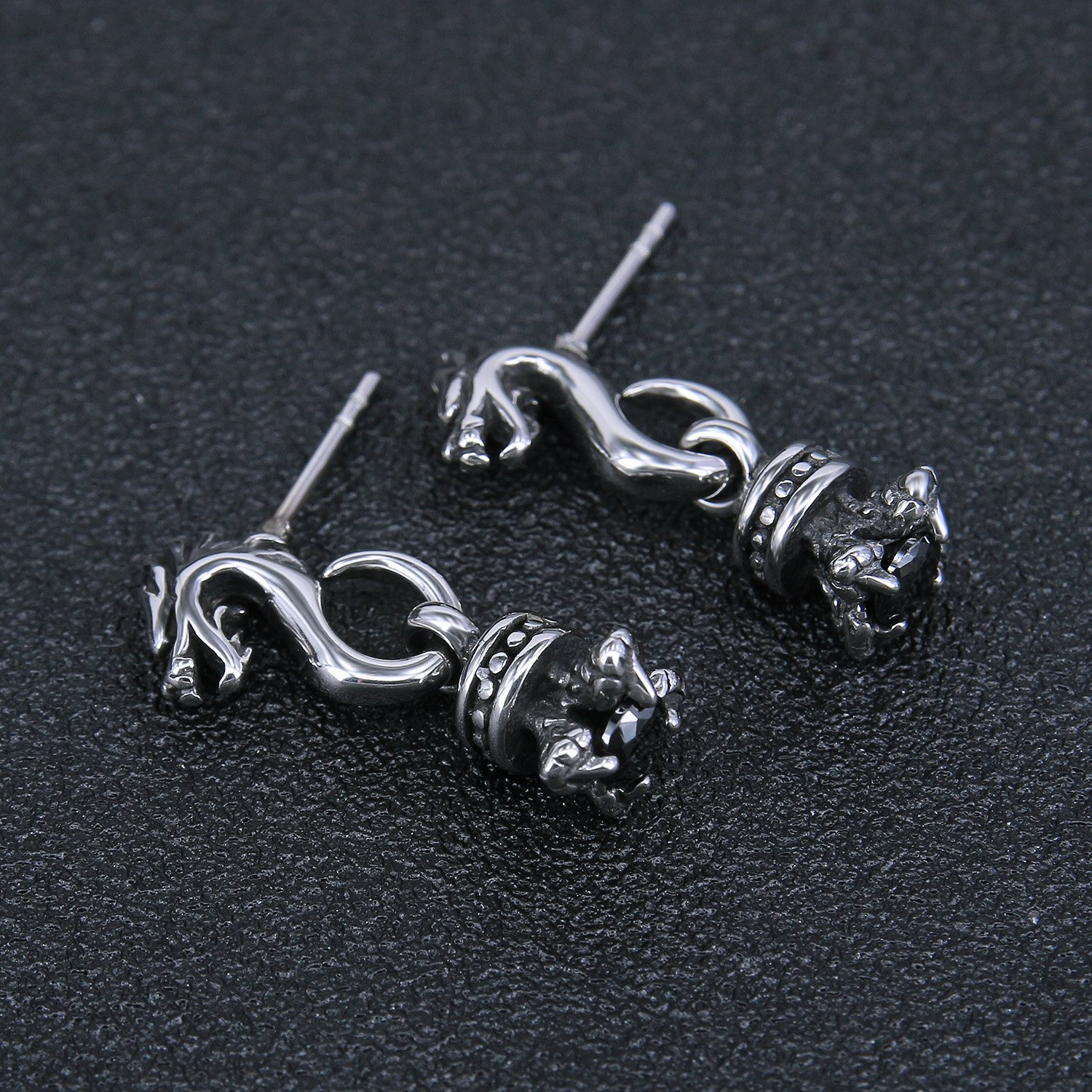 Vintage Sword Skull Rose Drop Dangle Stud Earrings 316L Surgical Steel Punk Cartilage Earrings Mens Women (Dragon Style) by PiercingCool (Image #3)