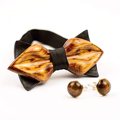 9ebd586d9c2e Amazon.com: 3D Wooden Bow Tie Cuff Links Set For Men Handmade Wood Bowtie  Wedding Accessory: Handmade