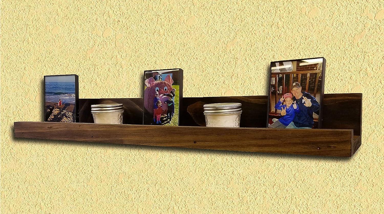 "Picture Frame Ledge Floating Shelf Farmhouse Display Dark Walnut 30"""