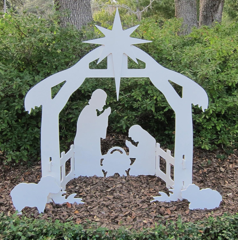 teak isle christmas outdoor nativity set yard