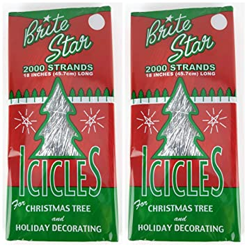 Christmas Tree Icicles Tinsel.Brite Star Silver 18 Inch Icicle Tinsel 2000 Strands 2