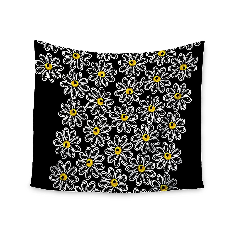 68 x 80 KESS InHouse Maria Bazarova Chamomile  Yellow Floral Wall Tapestry