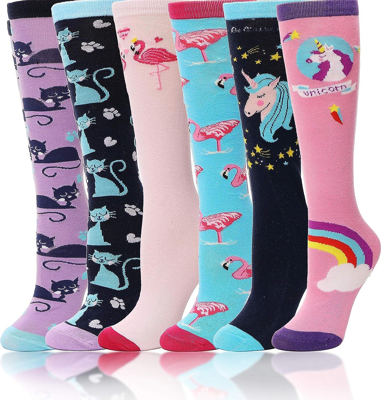 Girls Knee High Socks 6 Pairs Animal Pattern (3-12 Years Old, Animal F): Clothing