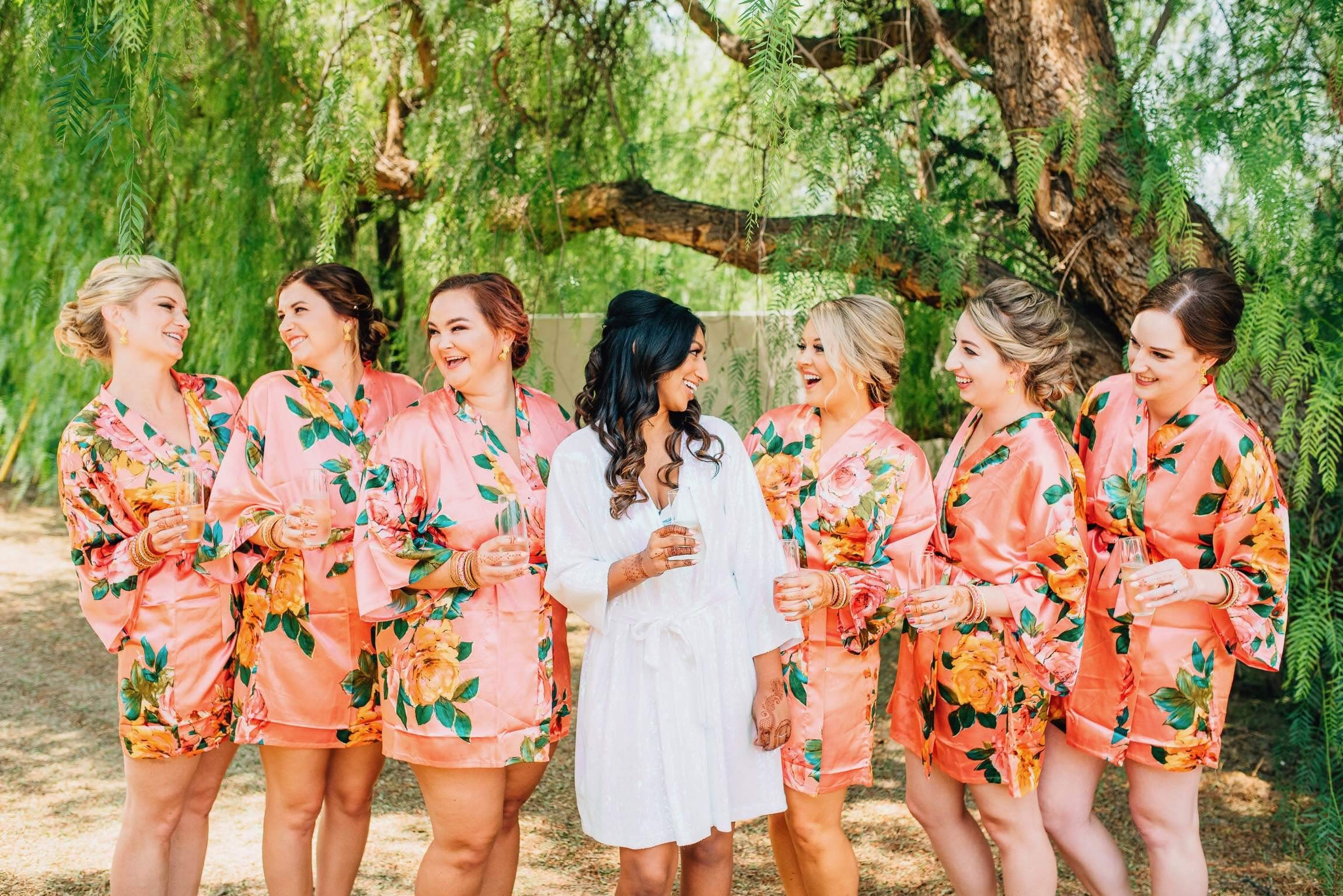 Coral Satin Floral Watercolor Bridesmaid Robes