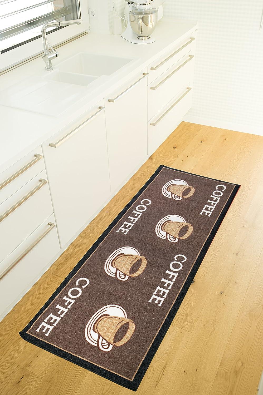 Andiamo K/üchenl/äufer Design-Kurzflor L/äufer aus 100/% Polyamid waschbar-Coffee 67 x 180 cm Teppich