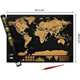Deluxe Premium Scratchable World Map with Gold Foil Layer-World Map Poster with Free Scratch Pen, Fun Travel Gift-scratch off world Map -Large 82.5 by 59.4 Centimetre -Legacy Axisⓡ