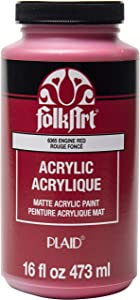 FolkArt Matte Acrylic Paint in Assorted Colors, 16 oz, Engine Red 16 Fl Oz