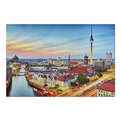 Berlin, Germany - Skyline at Sunset 9027838 (Premium 1000 Piece Jigsaw Puzzle for Adults, 20x30, Made in USA!): Toys & Games