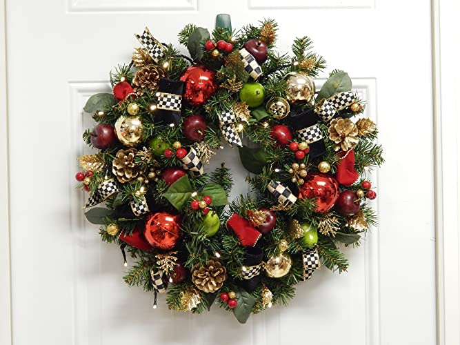 christmas wreath 20 inch with cordless led light with timer setting free shipping