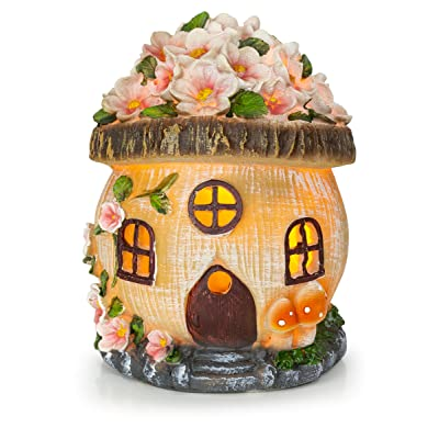 VP Home Gnome Fairy House Solar Powered LED Outdoor Decor Garden Light : Garden & Outdoor