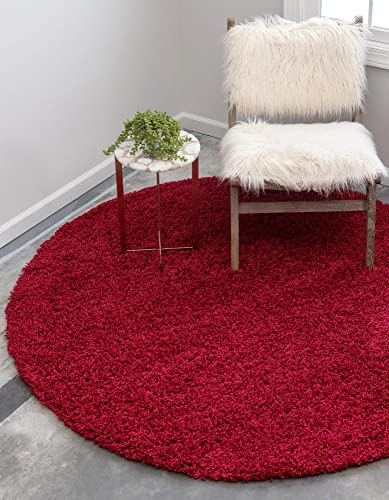 Unique Loom Solo Solid Shag Collection Modern Plush Cherry Red Round Rug 8 2 x 8 2