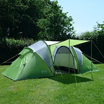 Trail 4 Man Family Tunnel Tent With Awning C&ing Festival Waterproof 3000mm HH & Trail 4 Man Family Tunnel Tent With Awning Camping Festival ...