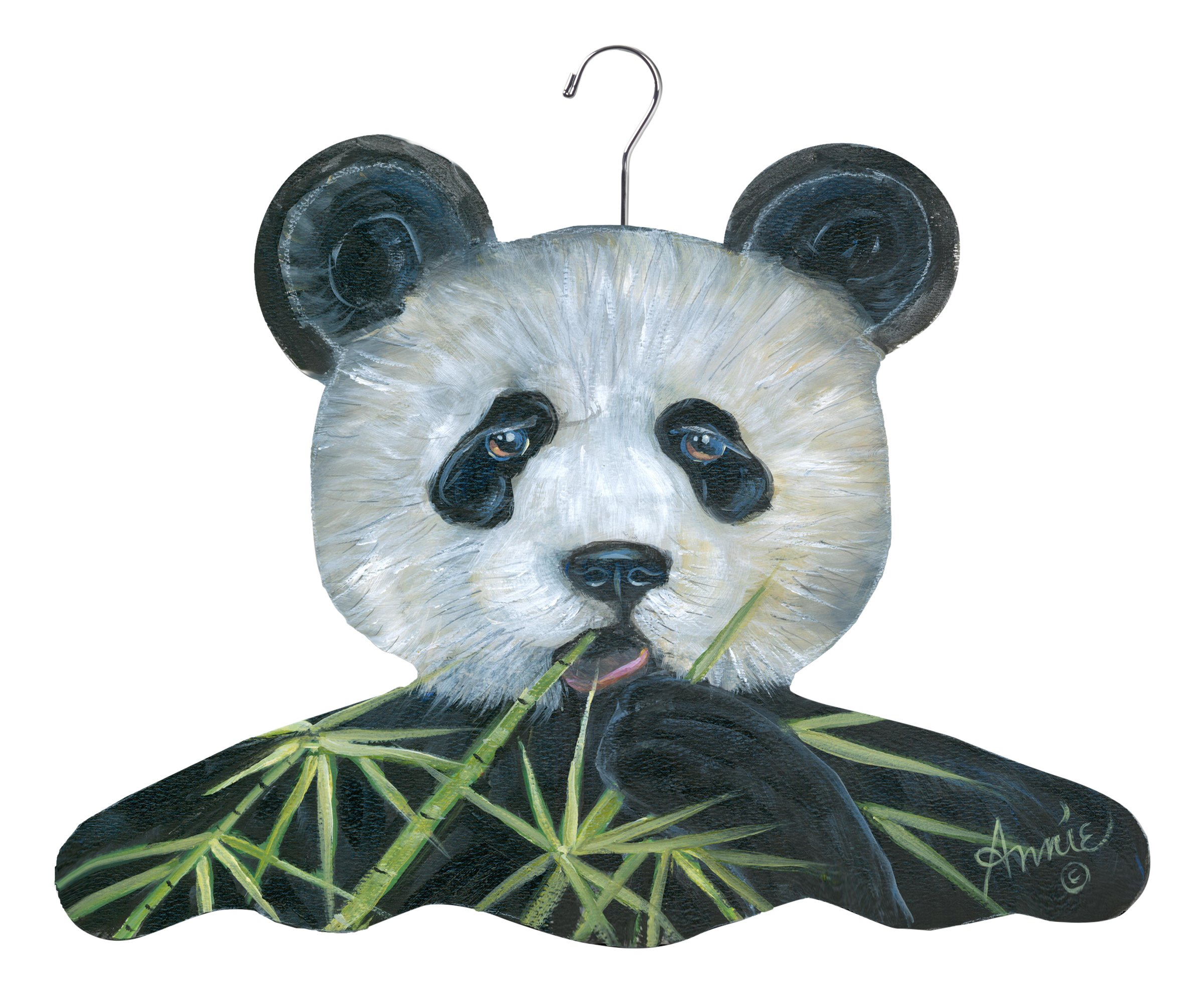 The Stupell Home Decor Collection Panda Bear with Bamboo Hanger