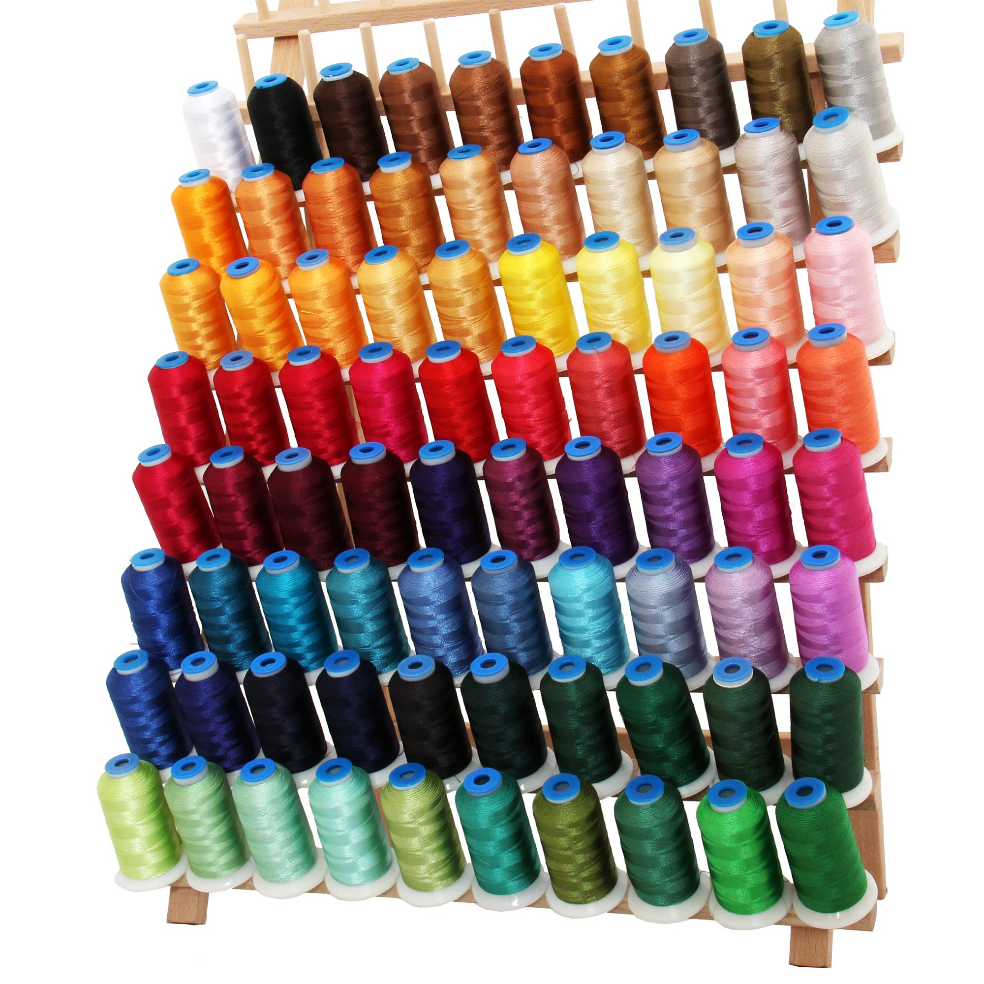 80 Cone Rayon Embroidery Thread Set - Includes Black and White - 1000m Cones - 40wt - Threadart by Threadart