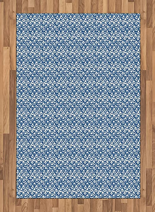 Amazon Com Ambesonne Ethnic Area Rug Hand Drawn Style Indonesian Batik Pattern With Curves And Small Triangles Flat Woven Accent Rug For Living Room Bedroom Dining Room 4 X 5 7 Navy Blue And