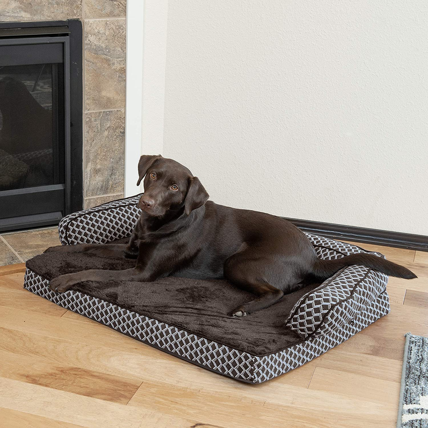 Furhaven Pet Dog Bed | Orthopedic Plush Faux Fur & Décor Comfy Couch Traditional Sofa-Style Living Room Couch Pet Bed w/ Removable Cover for Dogs & ...