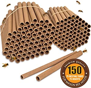 Rivajam Bee Nesting Tubes | 150 Piece Pack of 75 Cardboard Tubes and 75 Paper Inserts | Beekeeper Pro Edition New Replacement Nesting Tubes | Natural Refill Tubes for Mason Bee House Hotel