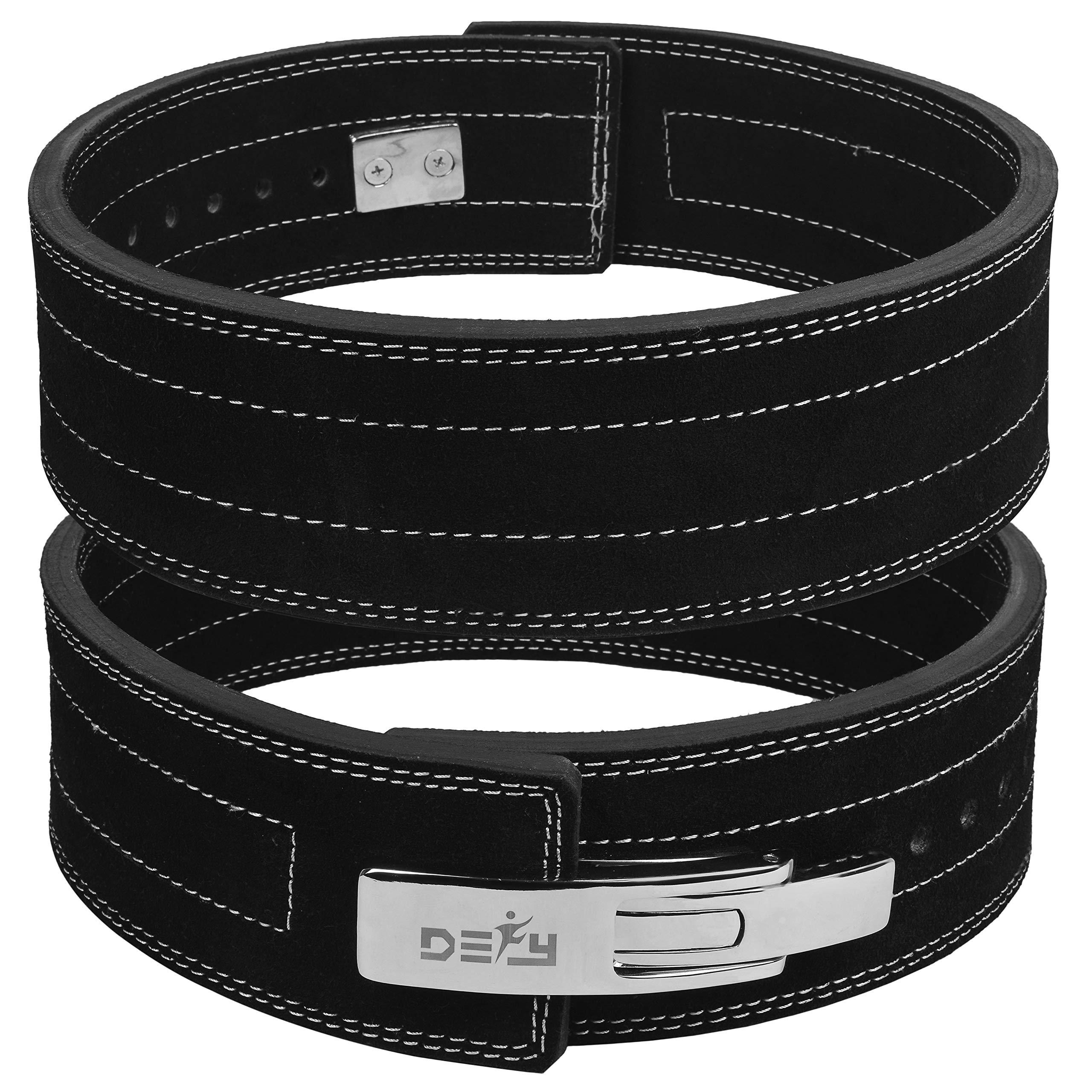 DEFY Power Lifting Belt Lever Buckle Genuine Leather 10MM Gym Training Exercise Belt Black (XS)