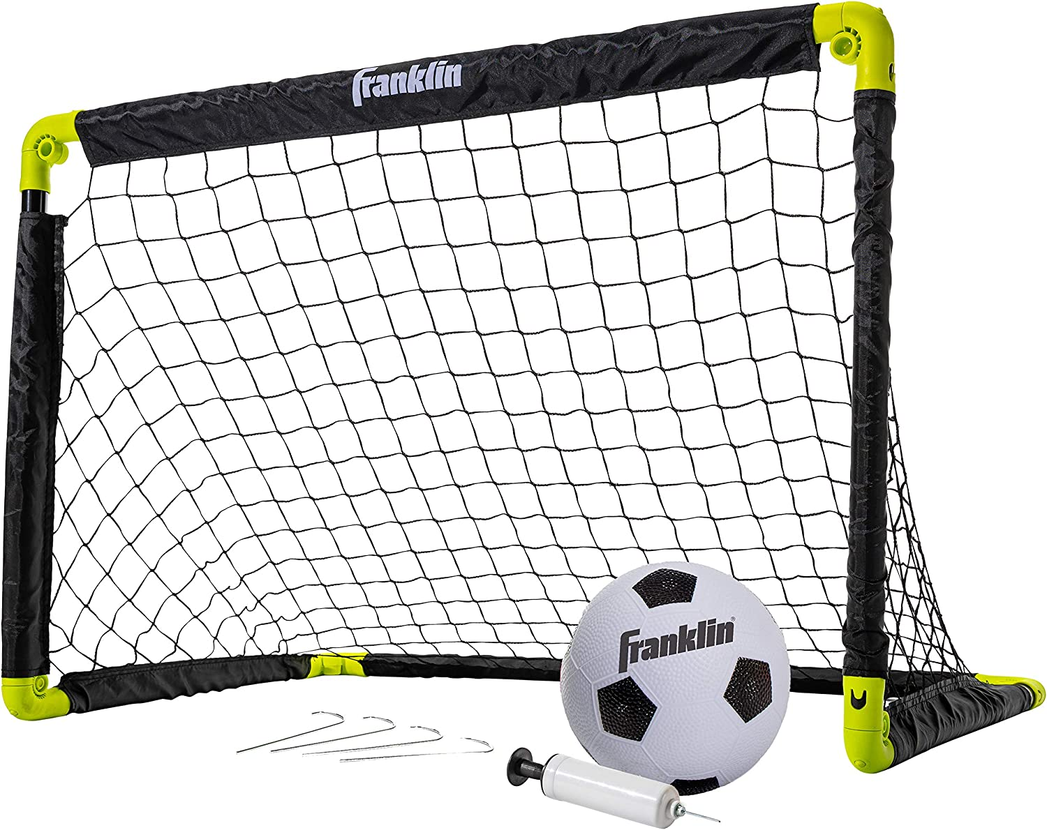 Franklin Sports Kids Mini Soccer Goal Set - Backyard/Indoor Mini Net and Ball Set with Pump