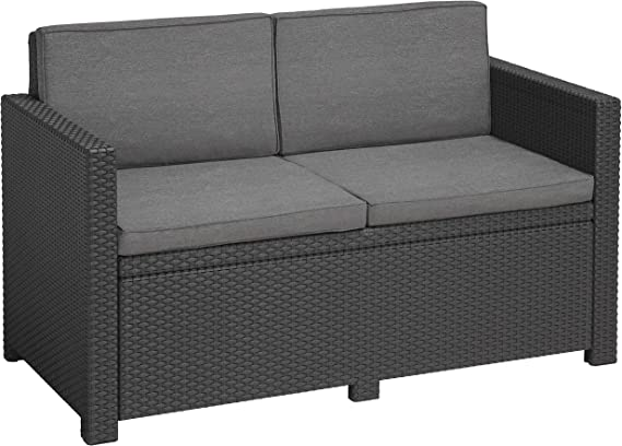 Poly Cotton Cushion Graphite//cool Grey Graphit Poly Cotton Cushion + Victoria Chair 2-Seater Lounge Sofa Single Item Lounge Sessel + Tisch Lyon 116 cm Allibert Victoria Graphite//cool Grey