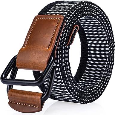 Ayli Unisex Casual Canvas Web Belt for Women Men Metal Buckle