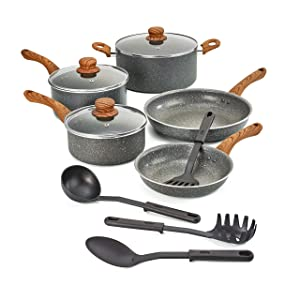 BELLA (14784) 12 Piece Wood Grain Pattern Handle Cookware Set, Gray Speckle