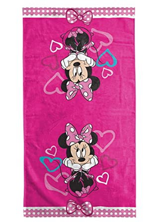 Amazon Com Jay Franco Minnie Mouse Bowtique Fuschia Hearts Cotton