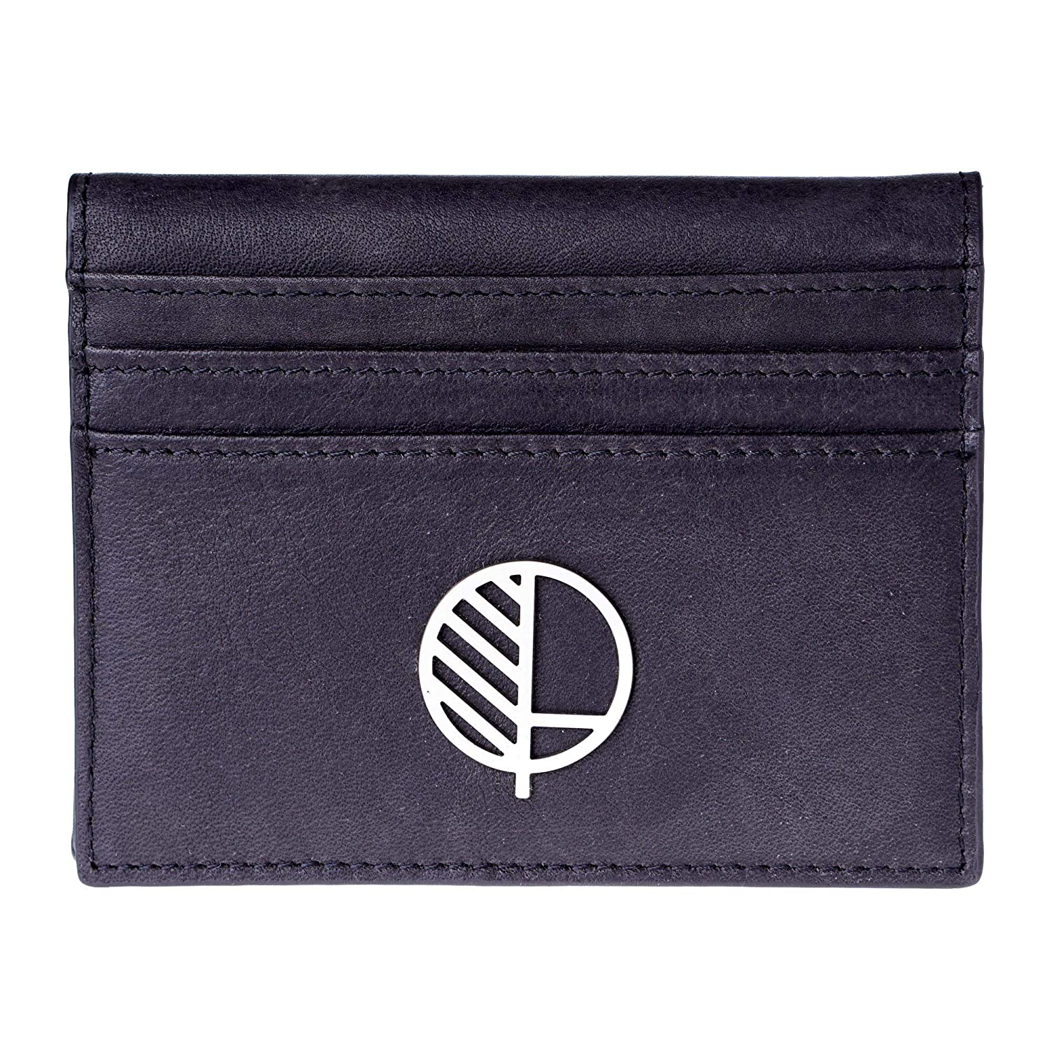 Genuine British Leather Sensuous Mens Premium Real Leather Compact Wallet and Large Credit Card Holder with ID Window in Stunning TheActive from Drew Lennox in Embossed Charcoal Black.