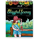 ColorIt Blissful Scenes II Adult Coloring Book - 50 Single-Sided Designs, Thick Smooth Paper, Lay Flat Hardback Covers, Spiral Bound, USA Printed