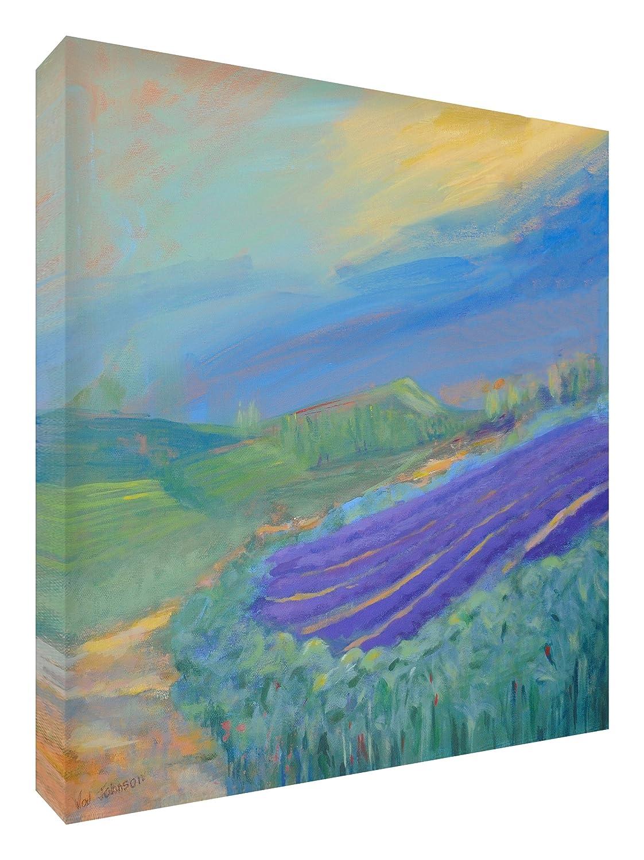 Feel Good Art Leinwand leuchtenden Farben gehören des Künstlers Val Johnson Feldern von Lavendel 96x 96x 4cm Größe XXL