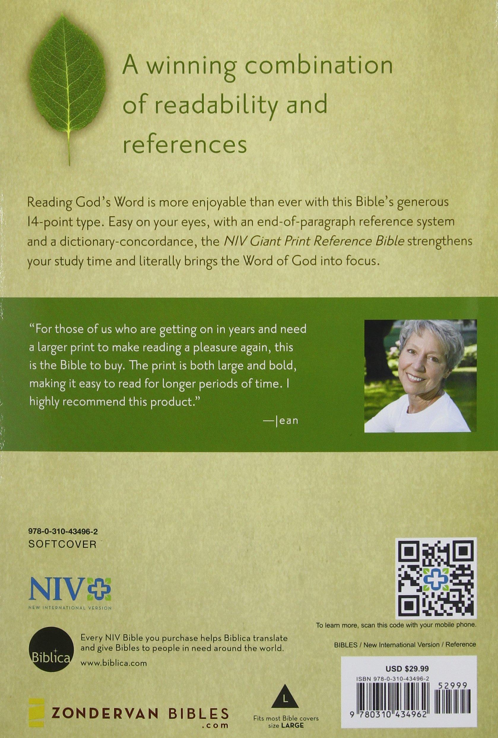 NIV, Reference Bible, Giant Print, Paperback: Zondervan ...