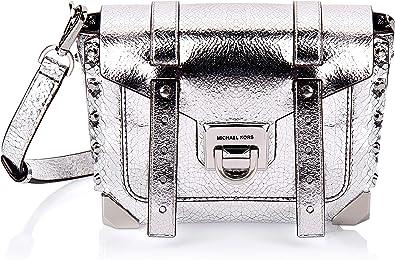 Amazon.com: MICHAEL Michael Kors Manhattan Small Messenger Silver ...
