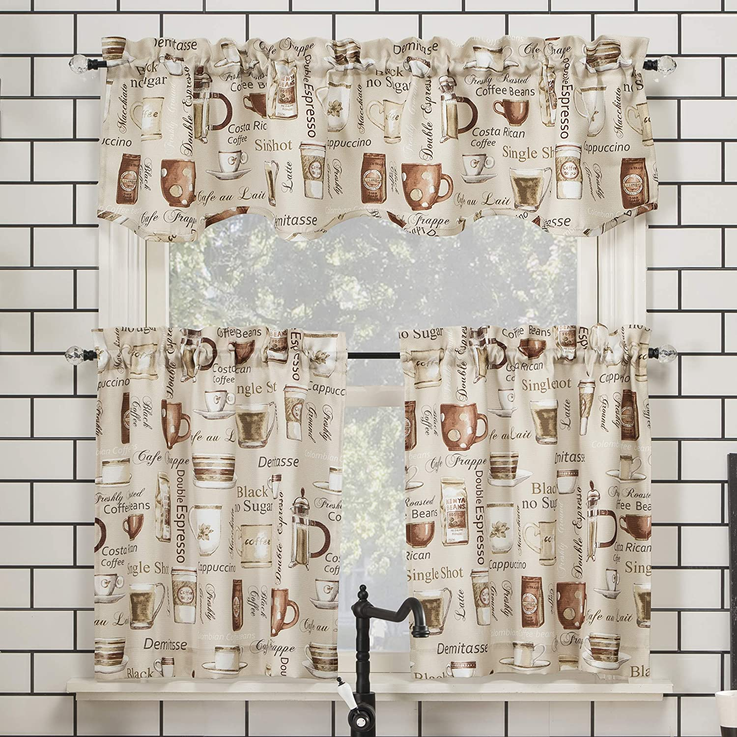 """No. 918 Bristol Coffee Shop Semi-Sheer Rod Pocket Kitchen Curtain Valance and Tiers Set, 54"""" x 24"""" 3-Piece, Ivory Off-White"""