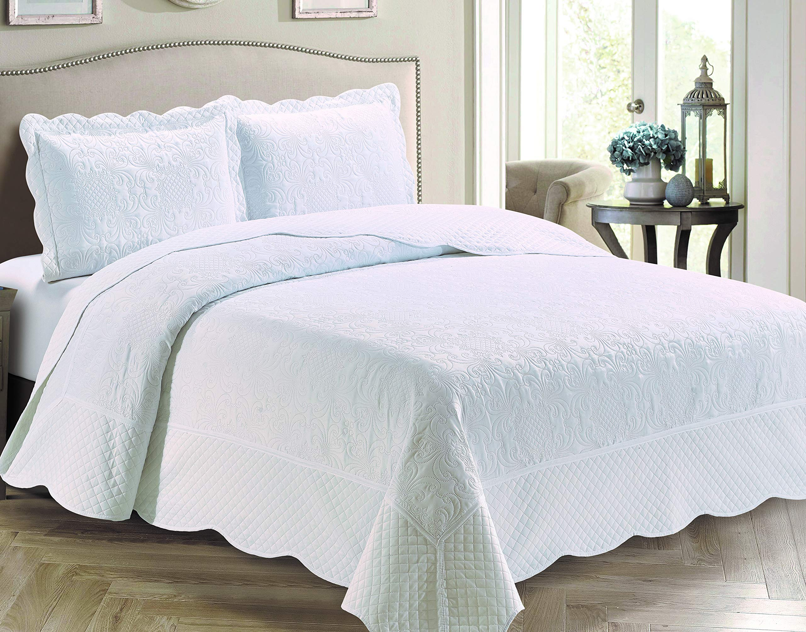 Kids Zone Home Linen 3 Piece Full/Queen Size Veronica Solid White Color Coverlet Bedspread. by Kids Zone Home Linen