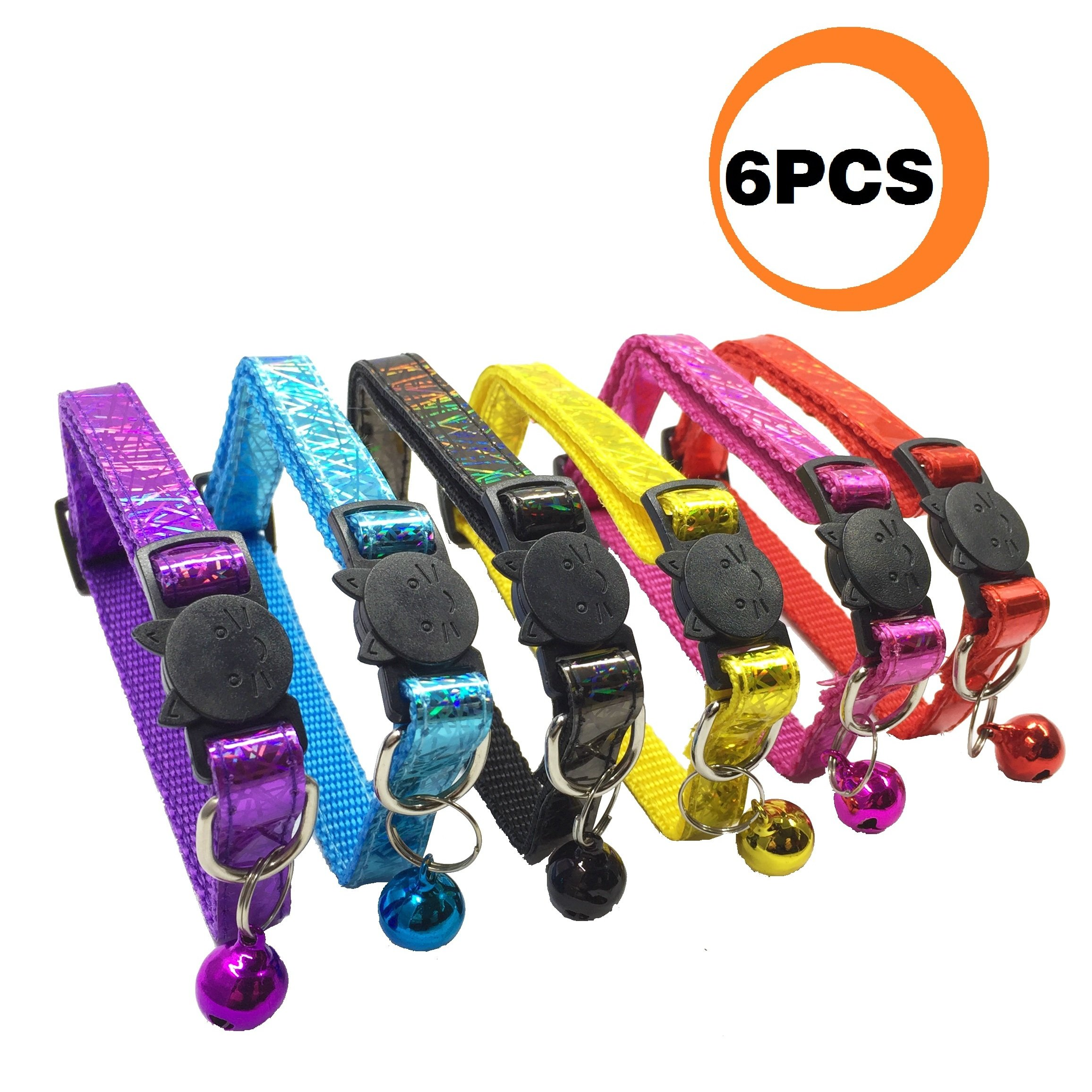 PACCOMFET 6 Pcs Breakaway Cat Collar with Lightweight Bright Surface and Bell, Safe and Durable