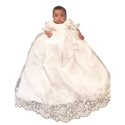 BuyBro Infant Toddler Christening Gowns Dedication Dresses White/Ivory Lace