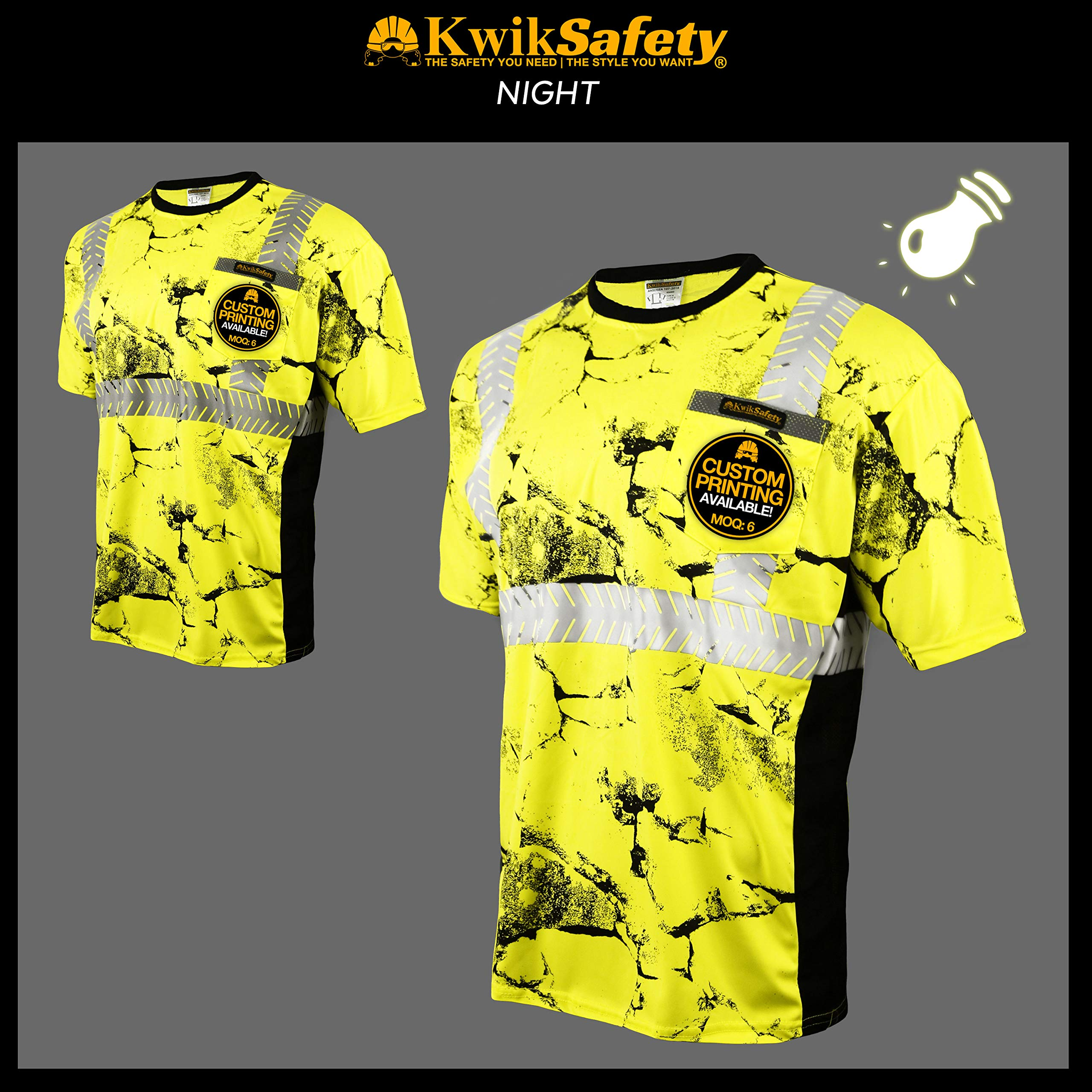 KwikSafety (Charlotte, NC) UNCLE WILLY'S WALL (Chest Pocket) Class 2 ANSI High Visibility Safety Shirt Fishbone Reflective Tape Construction Hi Vis Clothing Men Short Sleeve Camo Yellow Black XX-Large by KwikSafety (Image #4)