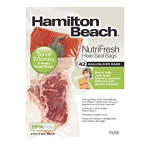 Hamilton Beach Vacuum Sealer, (42-Pack) Gallon-Size Bags for NutriFresh, FoodSaver & Other Heat-Seal Systems (78305)